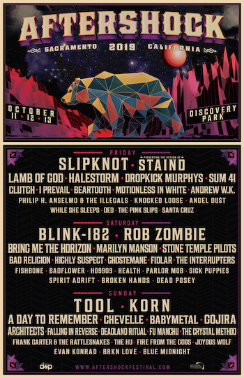 Aftershock announces full lineup for 2019 featuring Slipknot, Blink-182 and Tool headlining.
