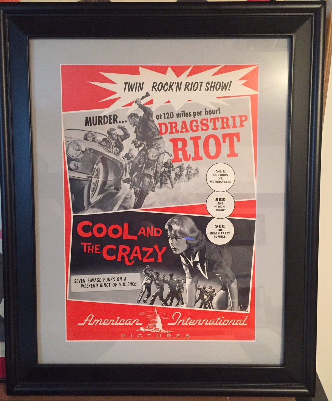 dragstrip riot - cool and crazy pressbook framed