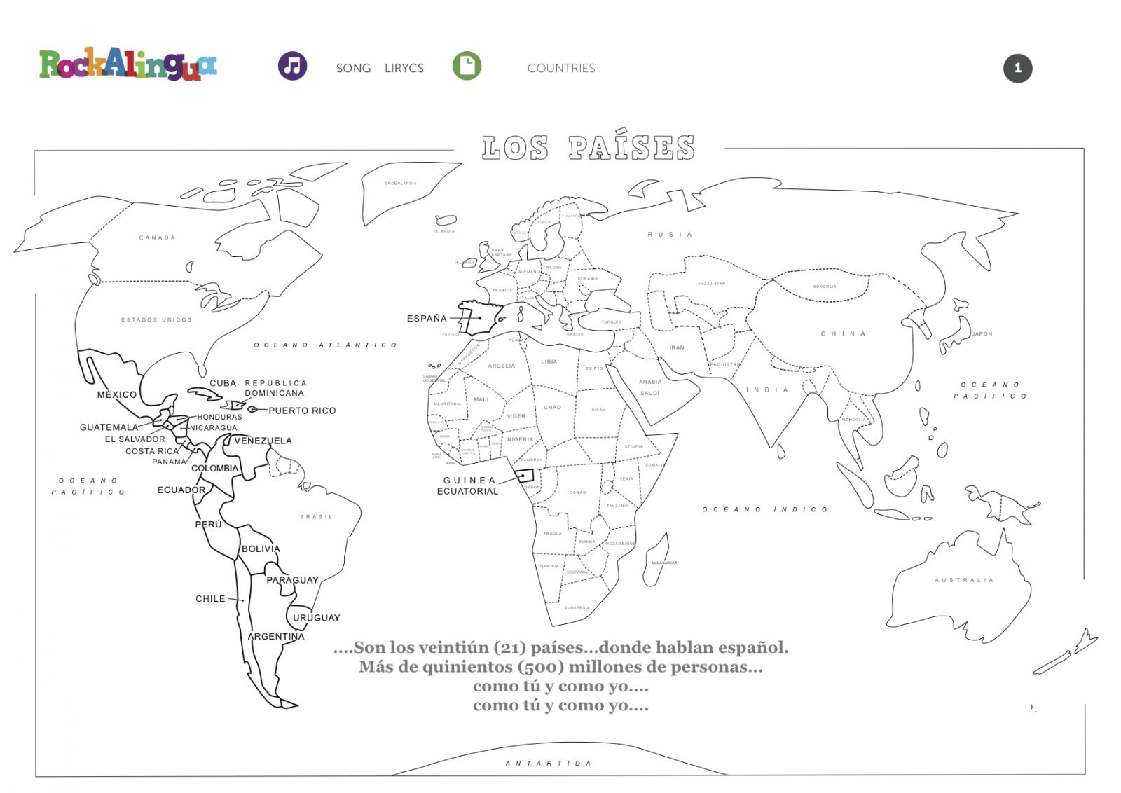 Spanish Speaking Countries Worksheet