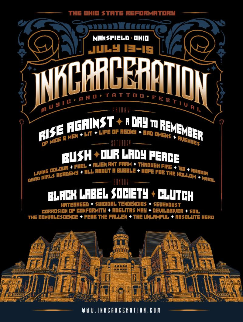 INKCARCERATION Music and Tattoo Festival Begins in One Week - Sponsors and Set Times Announced!