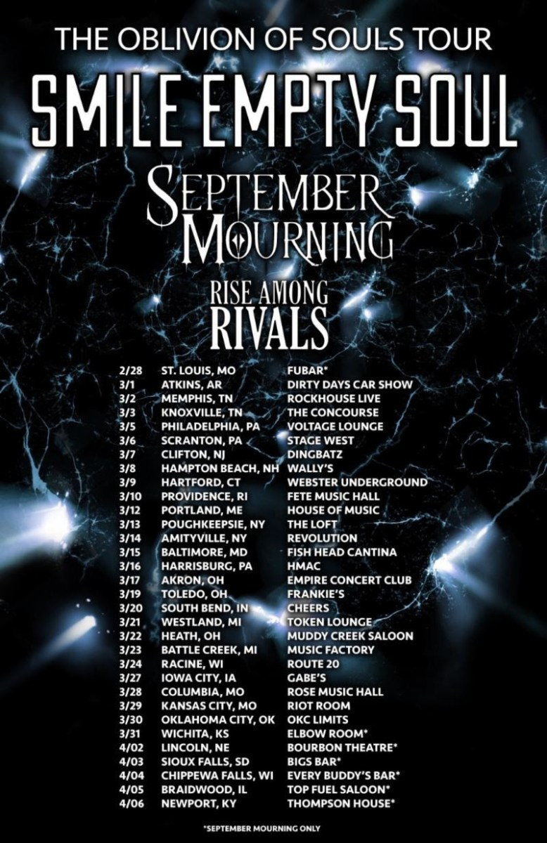 SEPTEMBER MOURNING Launches U.S. Tour with Smile Empty Soul Next Week