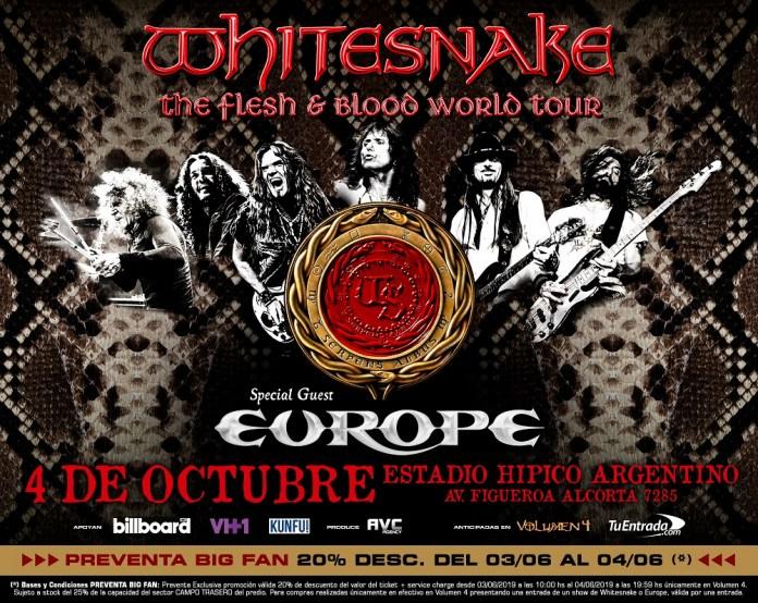 Whitesnake y Europe, juntos en Argentina