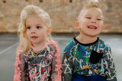 Creative, colourful toddler kids outfits for girl and boy with pin and blue expressions print dress and shirt