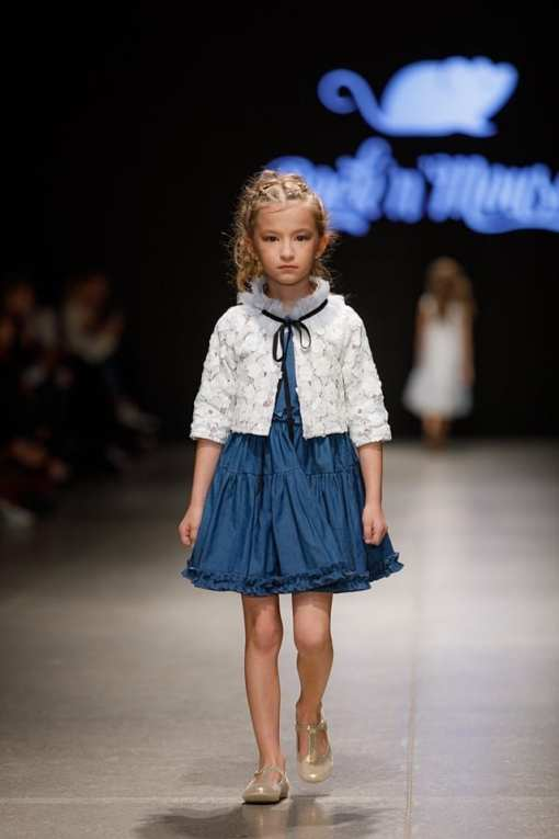 Toddler girl kid outfit with White lace jacket with tulle colar and Denim full skirt dress