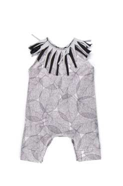 Unisex baby leaf romper with fringe for kids, toddlers, girl, boy