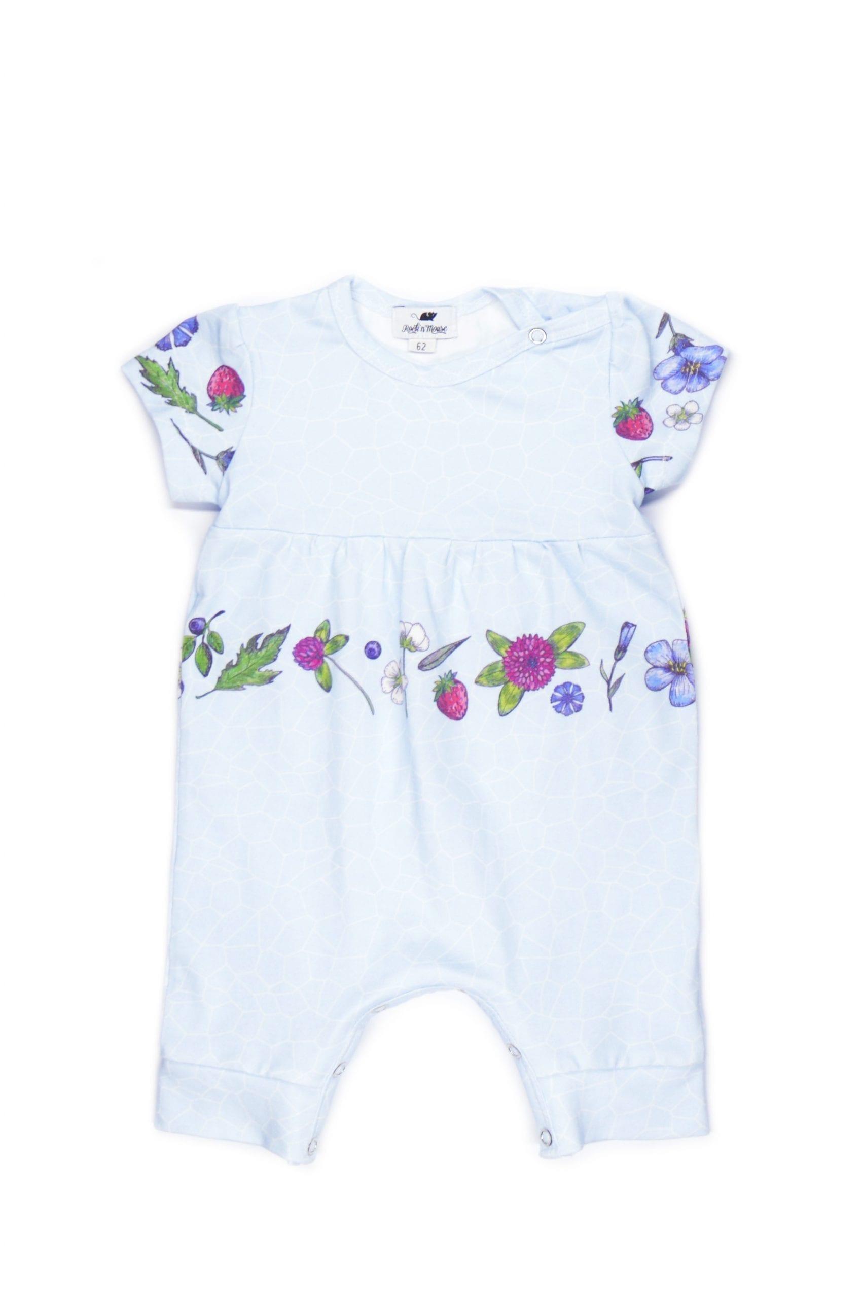 Unisex light blue baby romper with flowers for girl, boy, kid, toddler