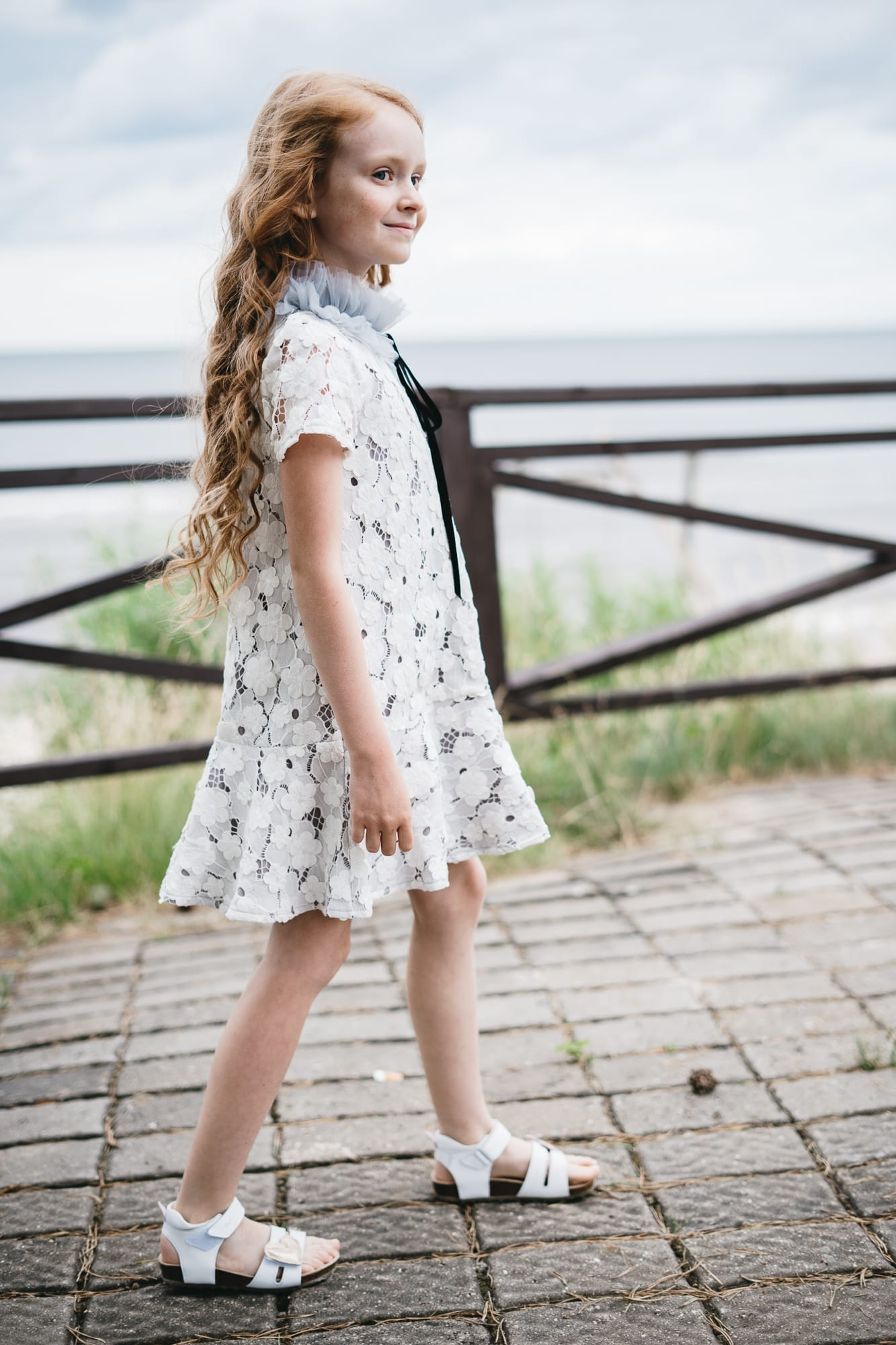 Lace dress for kids, toddler girls with tulle collar and velvet ribbon