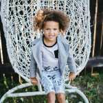 Unisex grey kids outfit for girl, boy, toddler with monochrome bike shorts, T-shirt and leather look grey biker jacket