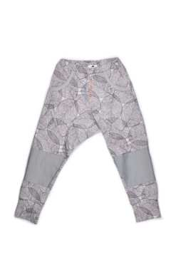 Unisex monochrome Harem pants in leaf print with grey leather look knee patches for kids, toddlers, baby, girl, boy