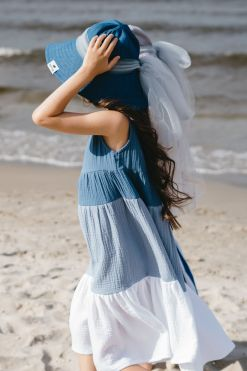 Muslin midi summer dress and denim floppy hat with tulle bow for kids, toddlers, girls