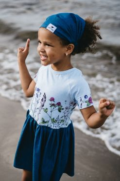 Girl summer outfit set with dress and denim  for kids, toddlers