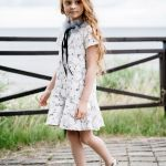 White lace mini dress with tulle collar for kids, toddler, girl