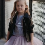 Girl outfit set with tulle skirt, T-shirt and leather look jacket