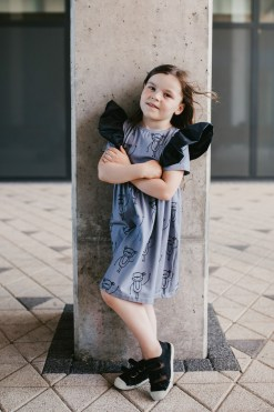 Happy monkeys kids, girl, toddler, baby dress with leather look wings