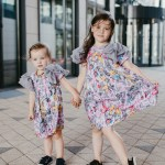Toddler, baby, kids, girl dresses with first art and pink expressions prints and tulle wings