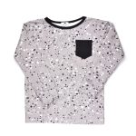 The monochrome long sleeve splashes shirt with pocket for kids, toddler, boy, kid