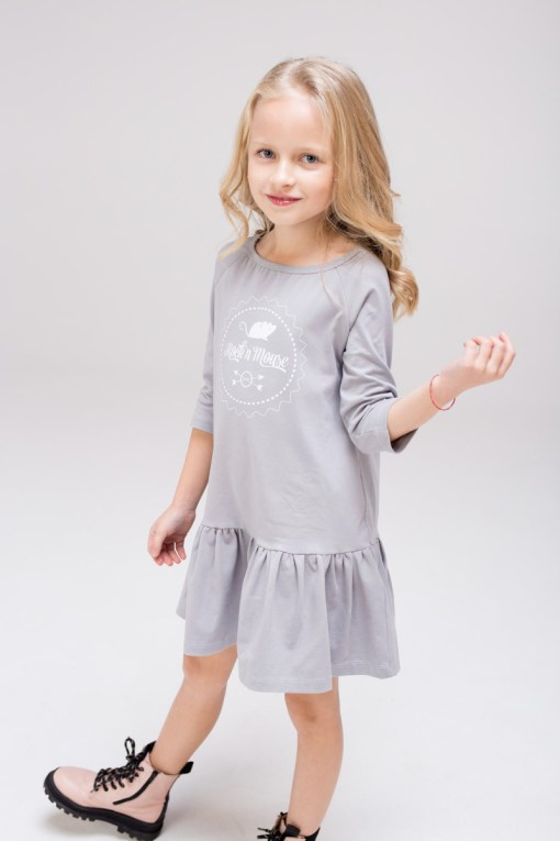 Grey kids, girl, toddler and teen dress with silk screen printed Rock and Mouse logo