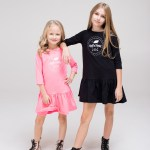 Black and pink kids, girl, toddler and teen dress with silk screen printed Rock and Mouse logo
