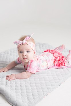 Pink baby girl, kids and toddler headband with knot
