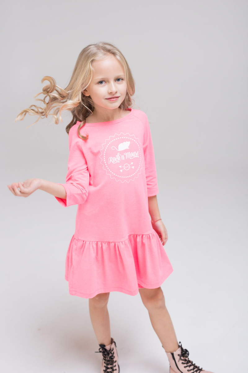 Pink kids, girl, toddler and teen dress with silk screen printed Rock and Mouse logo