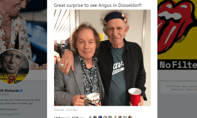 Angus Young visits Rolling Stones backstage on Germany