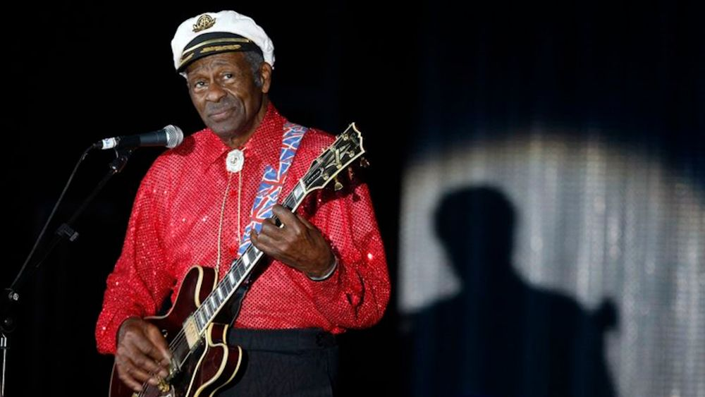 Rock and roll legend Chuck Berry performs during the Bal de la Rose in Monte Carlo