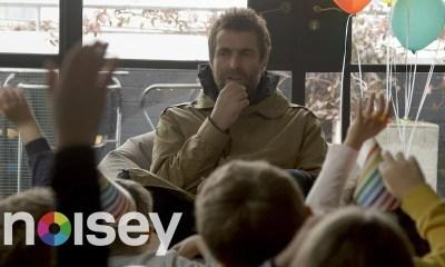 Liam Gallagher being interviewed by kids