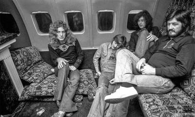 Led Zeppelin on their airplane