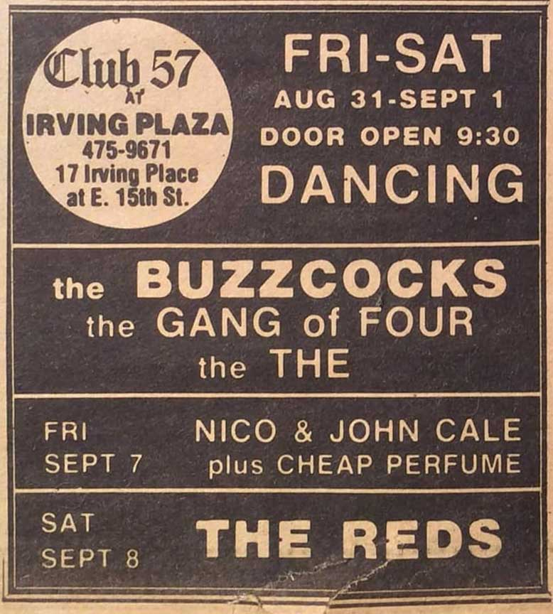 Club 57 At Irving Plaza Advertisement