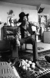 Jimi Hendrix at 23 Brook Street, 1969. Credit (c)Barrie Wentzell--Photo courtesy of Handel & Hendrix