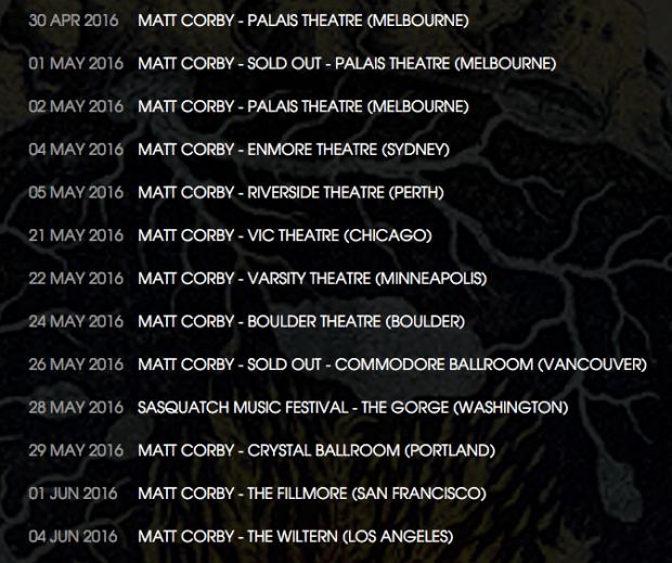 Matt Corby tour dates