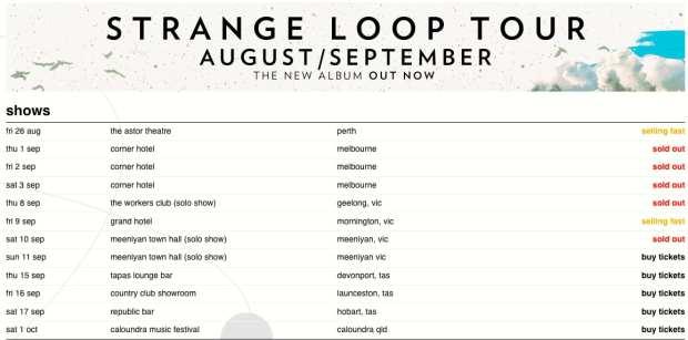 Paul Dempsey Strange Loops tour dates