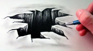 How to draw 3D Hole Step By step on paper tutorial For beginners