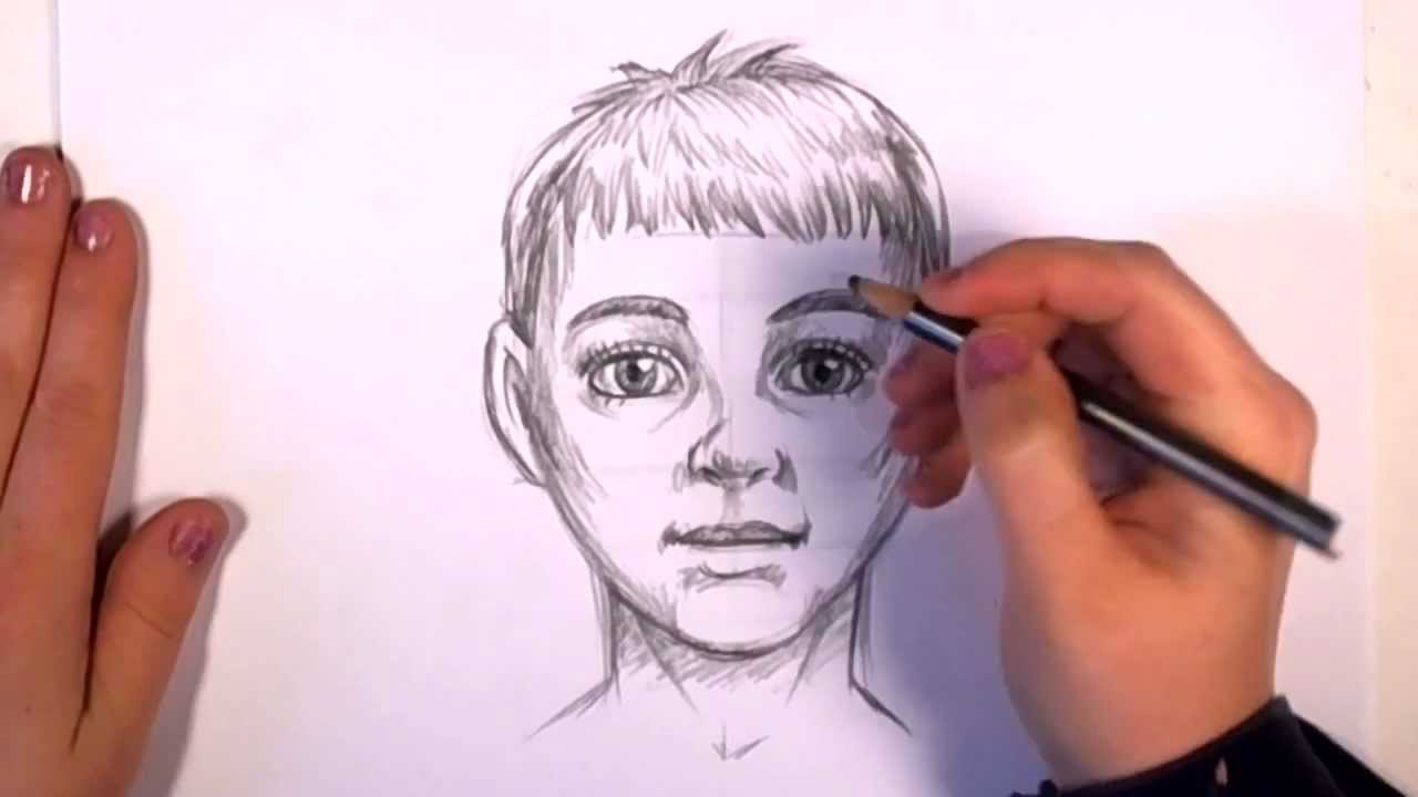 How to draw realistic looking anime kid baby boy face video tutorial step wise