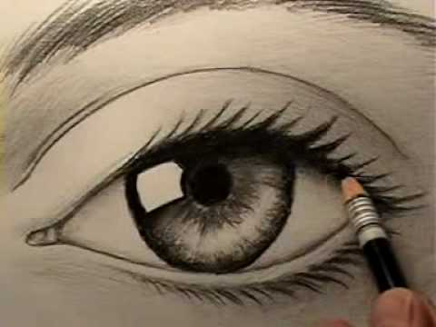 Drawing of an anime and realistic eye step by step for beginners