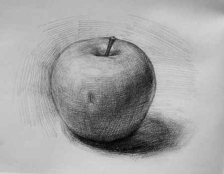how to draw a shaded apple step by step for beginners