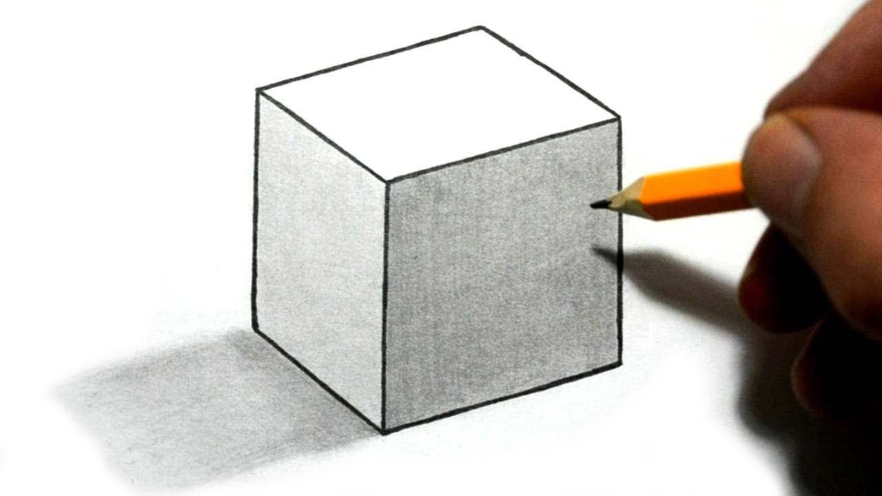 draw 3d cube illusion with shading easy step by step for beginners