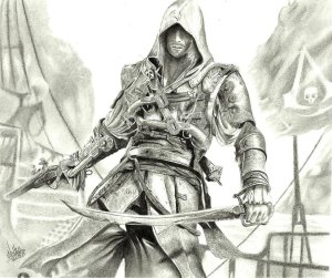 How to draw assassins creed black flag 4