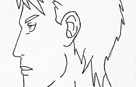 how to draw male side view of face