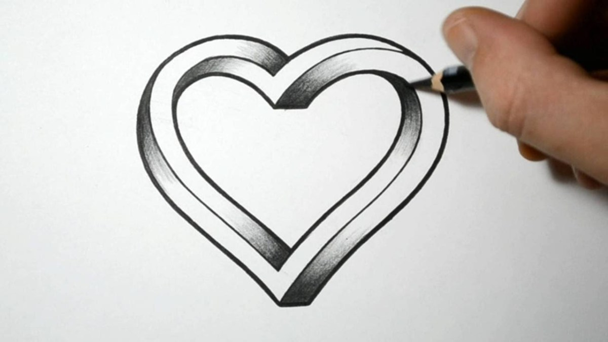 Tutorial - How to draw 3d heart step by step for beginners video