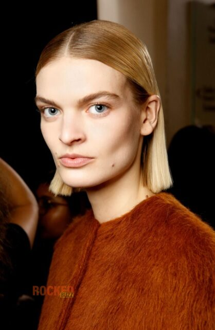 straight sleek bob with center parting