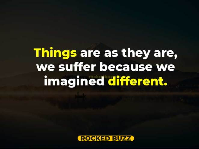 Things are as they are, we suffer because we imagined different.