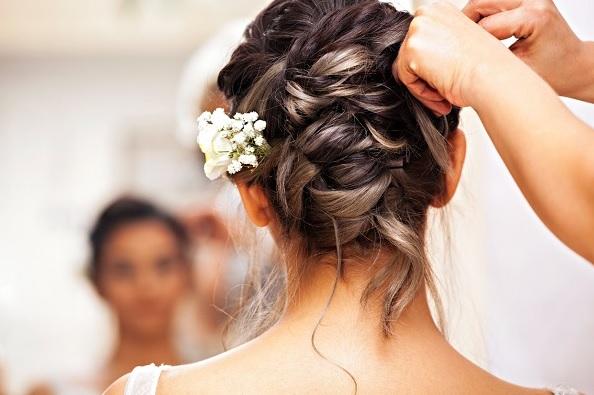 French braided hair bun