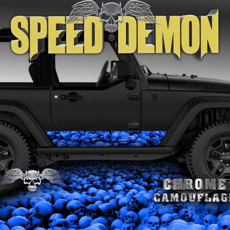 2007-2017 Jeep Wrangler Rocker Wrap SKULL CRUSHER Blue