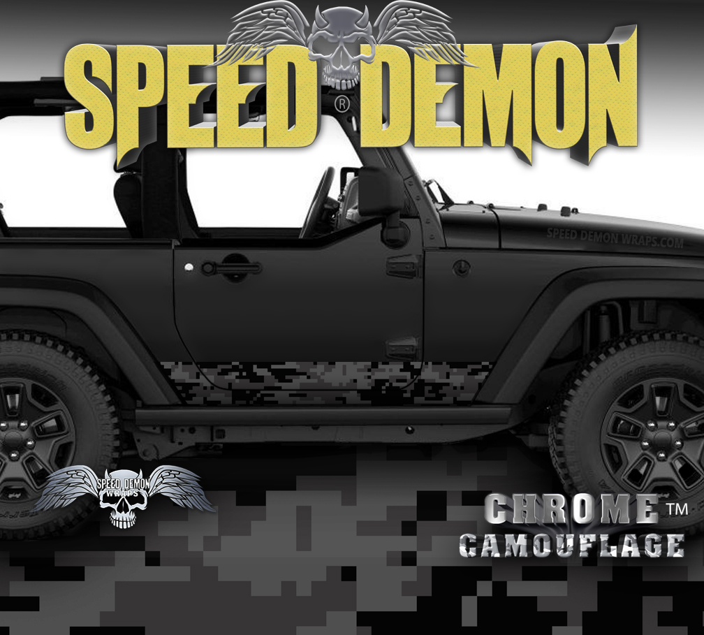 2007-2018 Jeep Wrangler Rocker Wrap Camo Digital Light Black