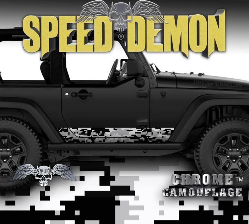 2007-2018 2 Door Jeep Wrangler Rocker Wrap Camo Digital Snow