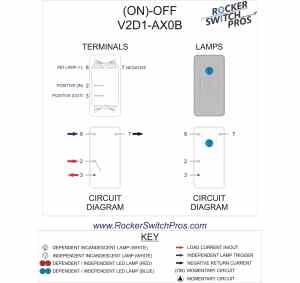 momentary blue light rocker switch | Rocker Switch Pros