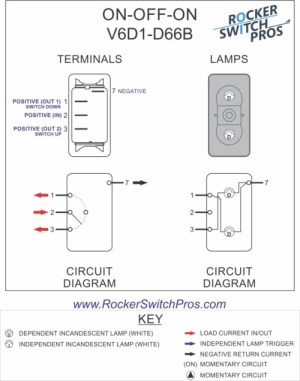V6D1 Rocker Switch | ONOFFON | SPDT | 2 lights | Rocker