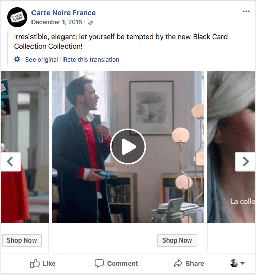 Video sizes of carousel ads on facebook
