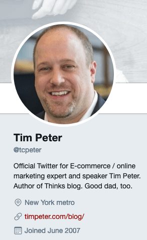 Tim Peter's Twitter account